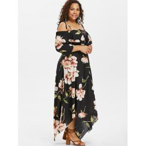 Plus Size Cold Shoulder Ruffle Handkerchief Dress -