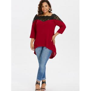 Plus Size Scalloped Boat Neck Blouse -