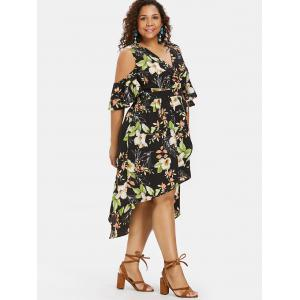 Cold Shoulder Plus Size Floral Print High Low Dress -