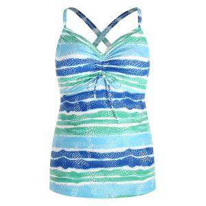 Back Criss Cross Plus Size Color Block Tankini Set -