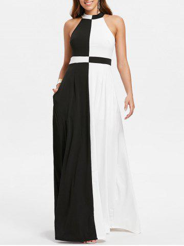 Hot Color Block Sleeveless Floor Length Dress