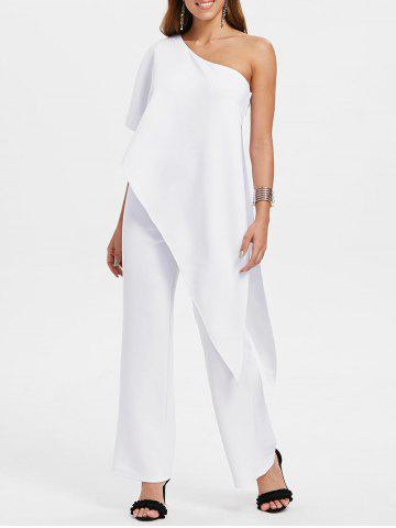 Cheap Overlay One Shoulder Jumpsuit