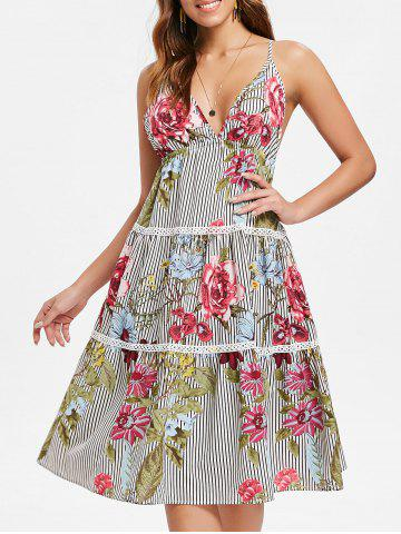 Floral Stripe Tiered Midi Slip Dress