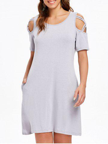 Outfits Round Neck Criss Cross Sleeve Shift Dress
