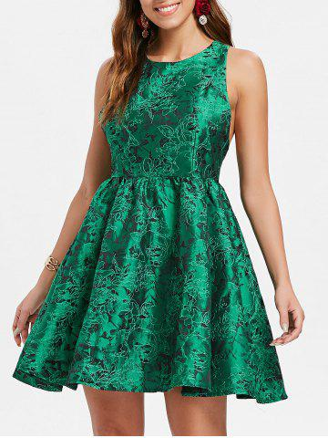 Fancy Jacquard Cut Out Fit and Flare Dress