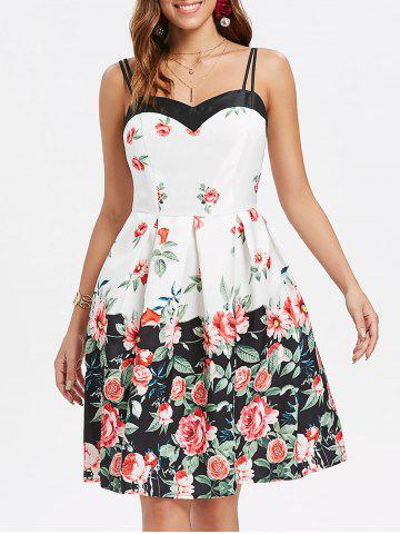 Best Roses Print Double Straps Flare Dress