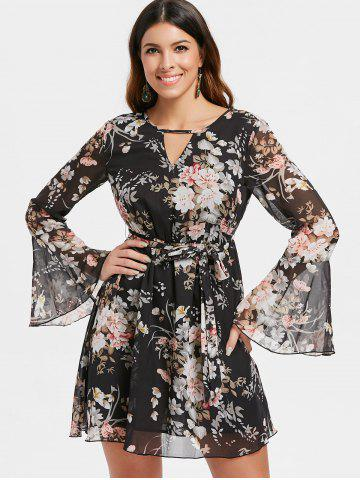 Long Sleeve Mini Floral Chiffon Dress