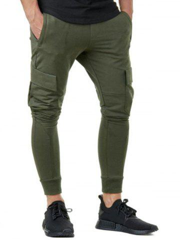 Fancy Solid Color Casual Cargo Jogger Pants