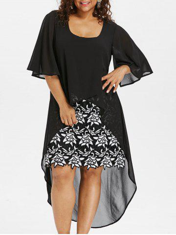 Latest Plus Size Bell Sleeve High Low Dress