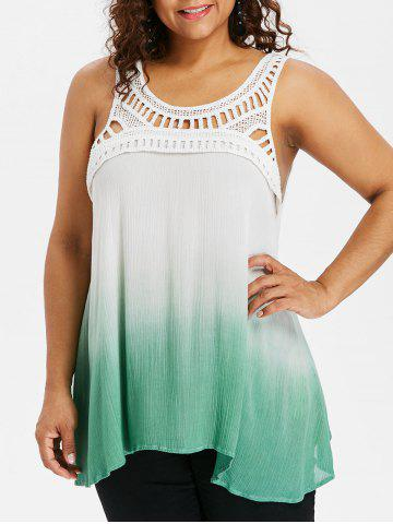 Plus Size Ladder Cut Gradient Color Tank Top - Green - 2x