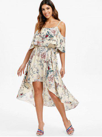 Print Cold Shoulder Flounce Dress