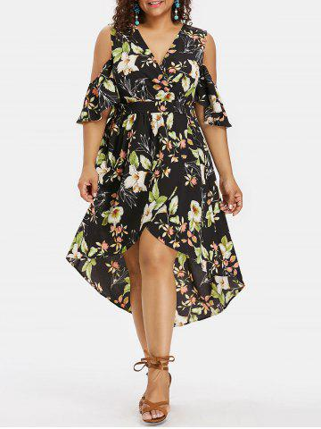 Buy Cold Shoulder Plus Size Floral Print High Low Dress