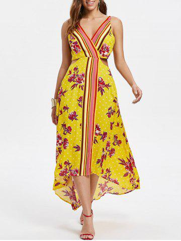Latest Floral Print Cut Out Backless Dress