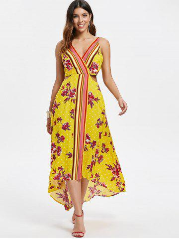 Floral Print Cut Out Backless Dress