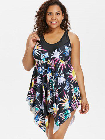 Plus Size Print Skirted Boyleg Tankini Set