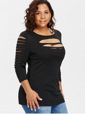 6d8edf5ee5e91 Plus Size Three Quarter Sleeve Ripped T-shirt