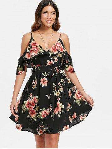 Cold Shoulder Floral Print Belted Dress
