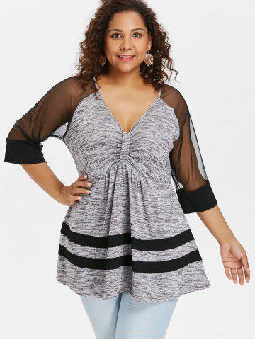 Plus Size V Neck Empire Waist T-shirt