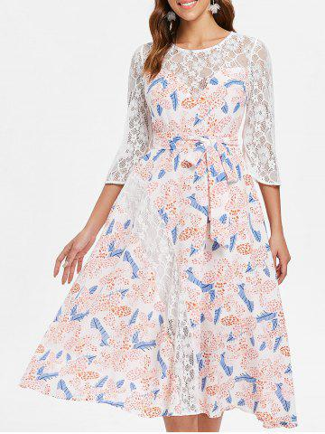 Sheer Lace Floral Chiffon Flare Dress