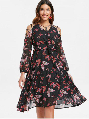 Butterfly Print Lace Up A Line Dress