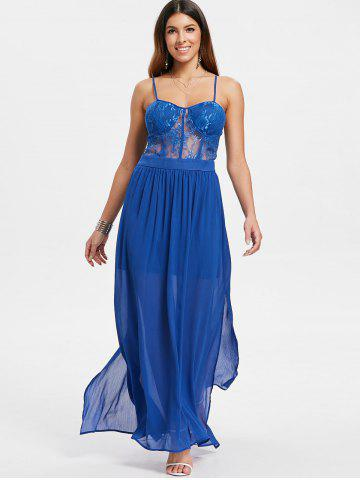 Sheer Lace Panel Cami Strap Chiffon Dress
