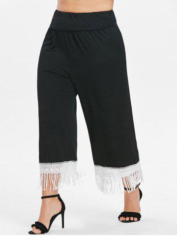 Plus Size Lace Trim Fringed Pants