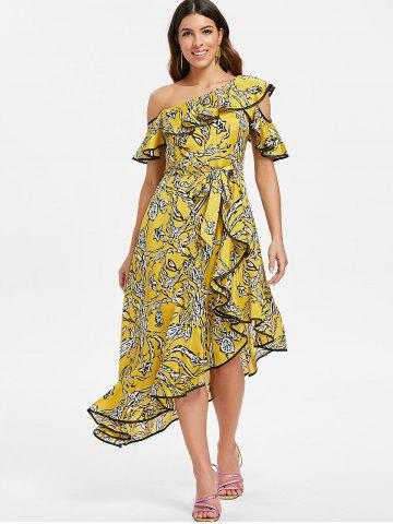 Printed Skew Neck Ruffle Asymmetric Dress