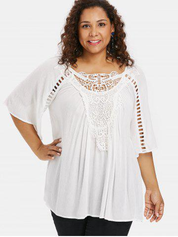 Plus Size Applique Lace Flowy Blouse