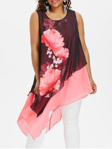rosegal Plus Size Floral Sleeveless Longline Blouse