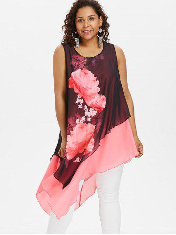 Plus Size Floral Sleeveless Longline Blouse