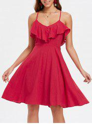 Ruffle Insert Back Criss Cross A Line Dress -
