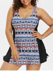 Back Cut Out Plus Size Tribe Print Swimwear -