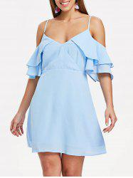 Ruffle Insert Back Cut Out A Line Dress -