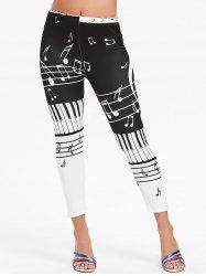 Music Notes Print Elastic Waisted Leggings -