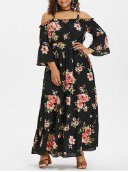 Plus Size Print Open Shoulder Maxi Dress -