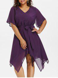 Plus Size Asymmetric V Neck Dress -
