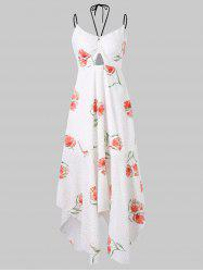 Floral and Dotted Print Midi Summer Dress -