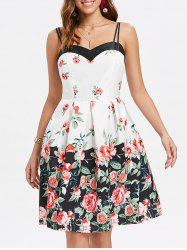 Roses Print Double Straps Flare Dress -