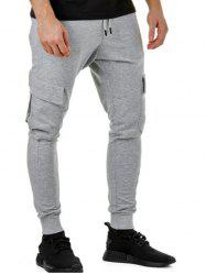 Solid Color Casual Cargo Jogger Pants -