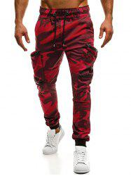 Camo Pockets Drawstrings Cargo Jogger Pants -