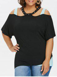 Riveted Collar Plus Size Cold Shoulder T-shirt -