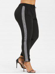 Plus Size Checkered Pocket Pants -