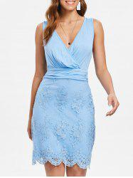 Lace Insert Sleeveless Surplice Dress -