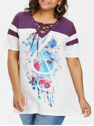 Lace Up Collar Plus Size Print T-shirt -
