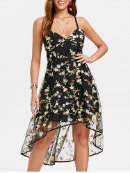 Embroidered High Low Mesh Overlay Dress -