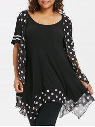 Plus Size Polka Dot Handkerchief T-shirt -