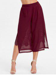 High Rise Lace Insert Chiffon Pants -