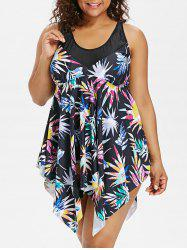 Plus Size Print Skirted Boyleg Tankini Set -