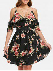Cold Shoulder Floral Print Belted Dress -