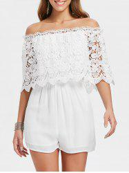 Hollow Out Lace Overlay Romper -
